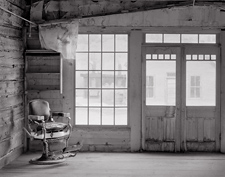 Barber Chair, Bannack, Montana. Vlack and white photograph