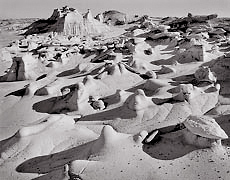 Bisti Badlands, New Mexico. Black and white photograph