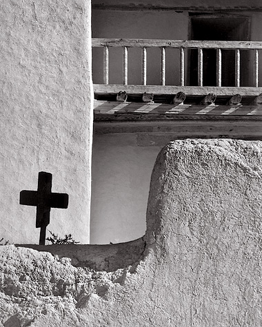 Black Cross, New Mexico. Black and white photograph