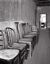 Chairs. Shakespeare, New Mexico. Black and white photograph