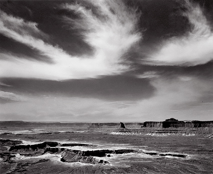 Clouds Over Murphy Point, Utah. Black and white photograph