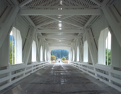 Covered Bridge and Horse, Oregon. Color photograph