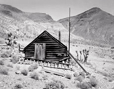 Lost Burro Mine. Death Valley, California; Black and white ghost town photograph