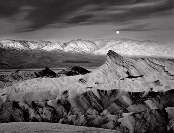 Moon Over Zabriskie Point, Death Valley. Black and white photograph