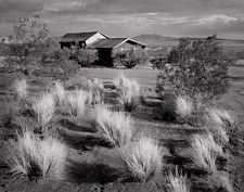 Sagebrush and Shack, Red Mountain, California. Limited edition black and white photograph