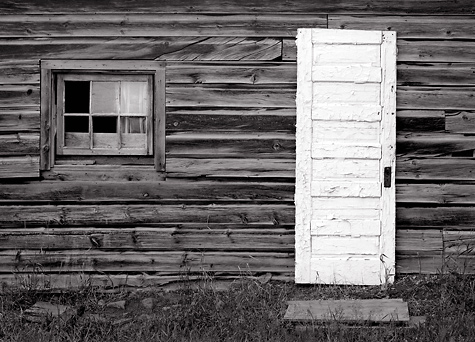 White Door and Wall Fort Steele BC. Limited edition black and white photograph & White Door and Wall 1981. Fort Steele BC. Radeka Photography Pezcame.Com