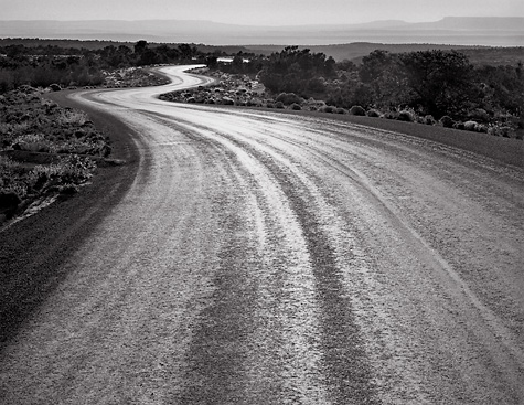 Winding road sunset canyon dechelley az black and white photograph
